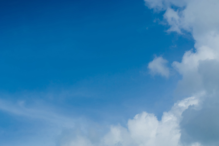 The sky with the clouds moving in the wind is a small group of clouds. Stock Photo