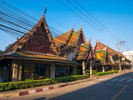 chao phraya: Bangkok, Thailand - January 30, 2016. Old Town in Chao Phraya riverside community