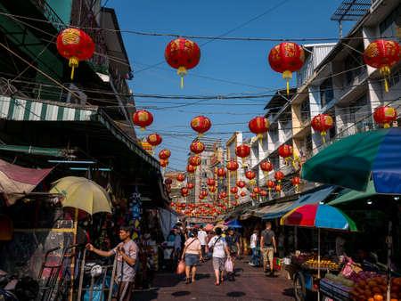 chiness: Bangkok, Thailand - February 5, 2016. Street in Bangkoks China Town before Chiness new year 2016