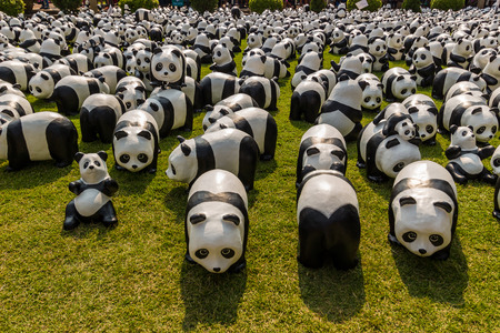 promote: Bangkok, Thailand - March 12, 2016: 1600 PANDAS+ World Tour arrive in Bangkok to promote conservation and awareness of environmental issues