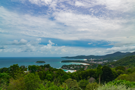 kata: Karon Viewpoint or Khao Saam Haad to take in views of Kata Noi, Kata Yai and Karon beaches in Phuket Thailand Stock Photo