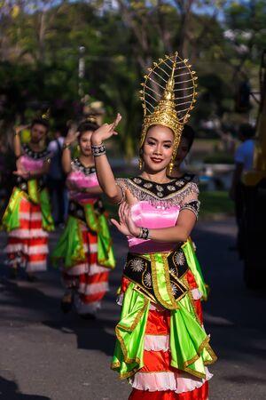 thai dancing: Bangkok, Thailand - Jan 2017, 27 : Thai Folk Dancer in the canival of Thailand Tourism Festival 2017 at Lumpinee Park