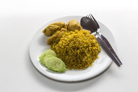 Chicken Rice Curry With Coconut ( Koa Mook Gai) the thai food Stock Photo