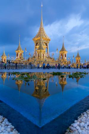 Bangkok, Thailand - November 9, 2017: People keep comming to visit Phra Meru Mas (the royal crematorium) of His Majesty King Bhumibol Adulyadej at Sanam Luang