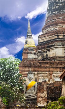 Blue Sky and acient temple. Wat Yai Chai Mongkhon Authaya, Thailand Stock Photo