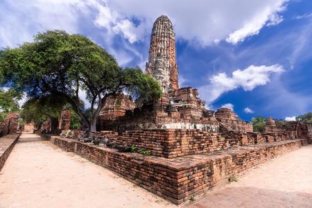 Blue Sky and acient temple. Wat Phra Si Sanphet Authaya, Thailand