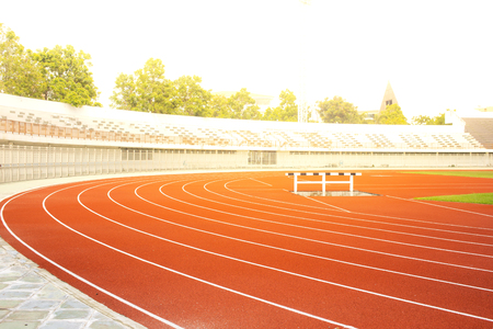 The Red Running Track in the stadium Banco de Imagens