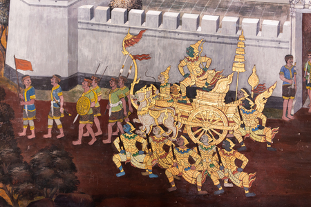 Traditional Thai painting (Art wall) of Ramayana story in the grand palace of Bangkok Thailand