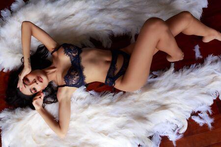 Underwear model with angel wings