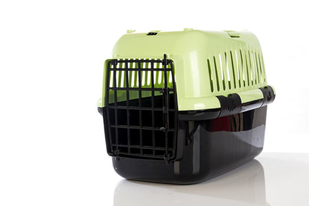 cat carrier: open pet carrier isolated on white background Stock Photo
