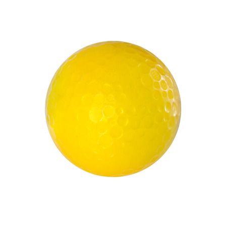 Yellow Golf ball isolated on white with clipping path. Standard-Bild