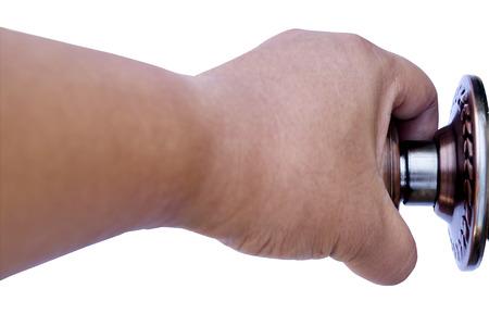 door knob: Man hand closed door knob
