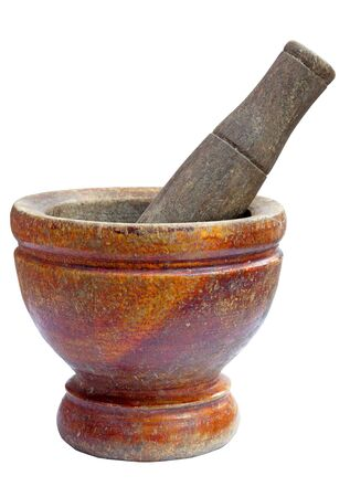 mortar and pestle set isolated on white background photo