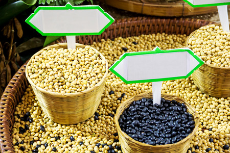 protien: soya beans in basket with label set Stock Photo