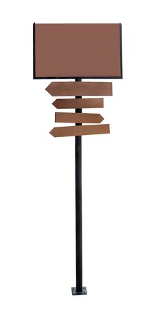 sign post: wooden arrow sign post or road signpost on white background