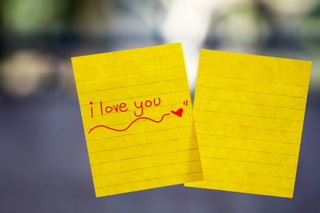 letter memo: I love you word sticky note on window mirror