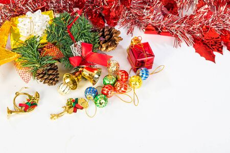 christmas decorations with white background: Christmas decorations, gifts, color balls, ribbons on a white background. Stock Photo