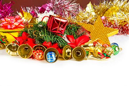 color balls: Christmas decorations, gifts, color balls, ribbons on a white background. Stock Photo