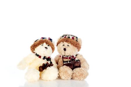 bear doll: Teddy bear on a white background. Stock Photo