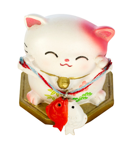 cultural artifacts: Japanese lucky cat Stock Photo