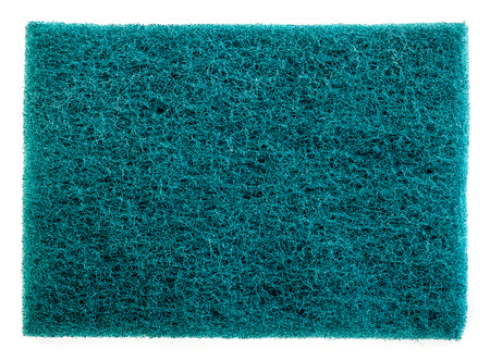scour: green scrub pad isolated on white background