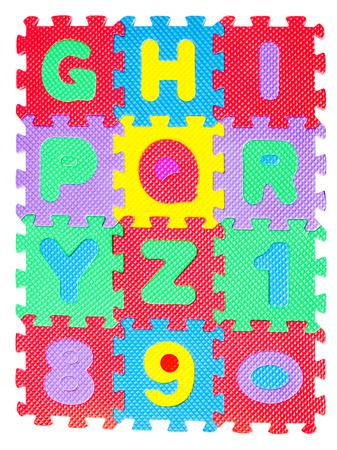 jigsaw puzzle pieces: Alphabet jigsaw isolated on white background.