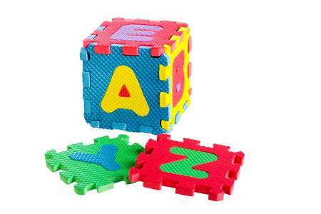 letter c: Jigsaw box alphabets isolated on white background