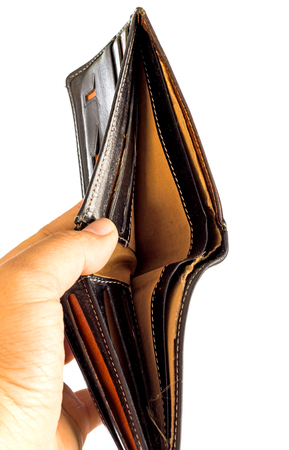 with no money: Having no money concept (hand man shown an old wallet).