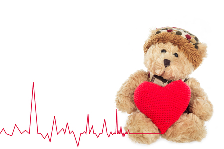 heart rate: Teddy bear with Heart Rate on white background