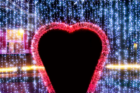 website banner: Picture blur Valentine`s day background with bright lights, Out of focus