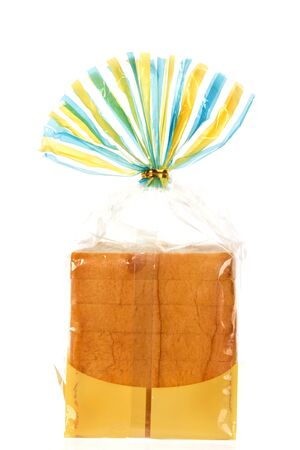 Sliced bread in plastic bag isolated on white background