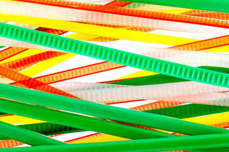 zip tie: colored cable ties isolated white background