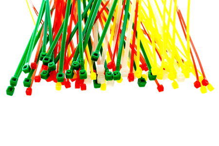 colored cable ties isolated white background