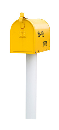 Yellow mailbox with mail  isolated on white with clipping path