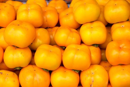 Orange persimmon fruits freshly