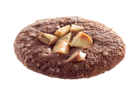 morsels: Chocolate nut cookies on a white background