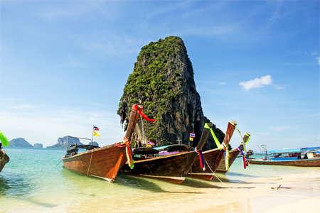 boat on Railay beach in Krabi Thailand. Asia