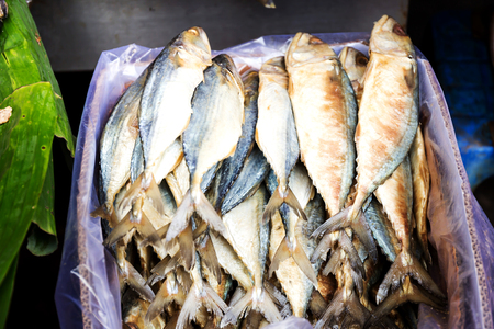 Salted fish (dried fish) is a dry food in Thai market