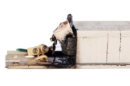 Ballast burns on white background