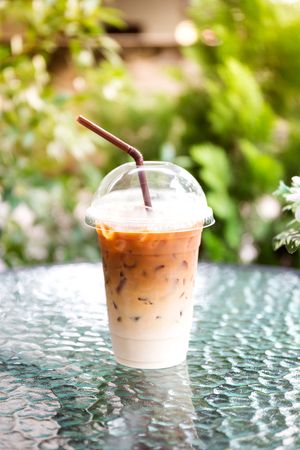 Iced coffee on table Stock Photo
