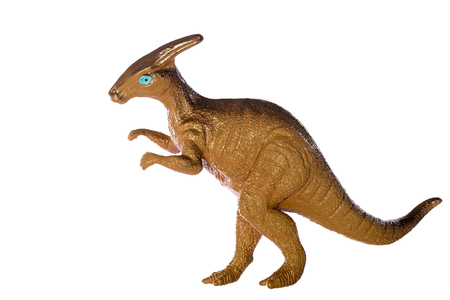 Parasaurolophus dinosaurs toy isolated on white background ,with clipping path