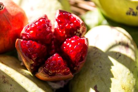 Ripe pomegranate fruit segment