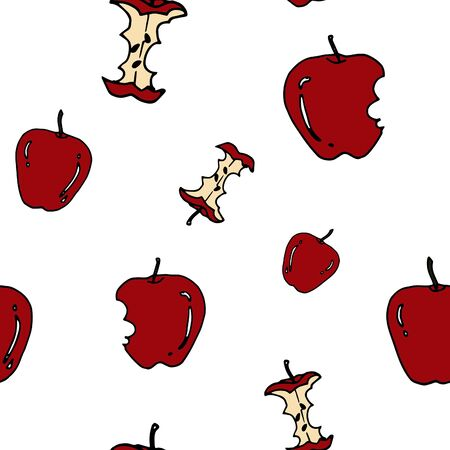 autumn colouring: Apple seamless pattern by hand drawing on white backgrounds.