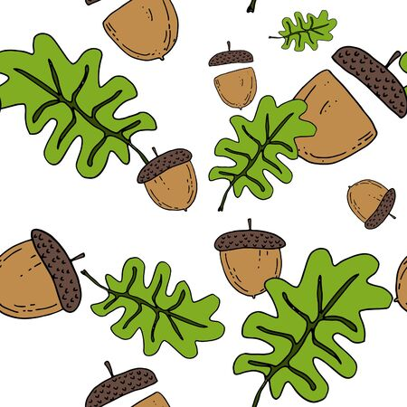 autumn colouring: Acorn seamless pattern by hand drawing on white backgrounds.