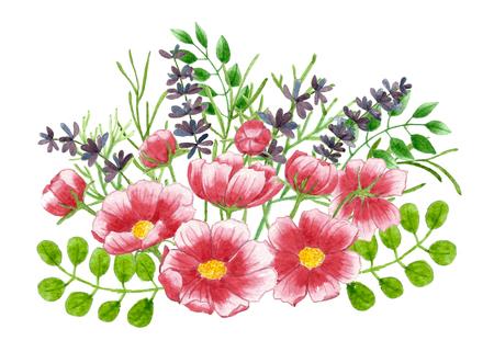 Blumenstrauß von Blumen und von Blättern, Blumenaquarellmalerei auf Isolathintergründen. Standard-Bild - 77510725