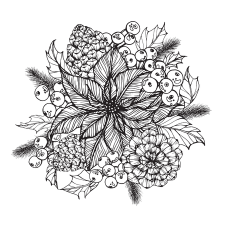 Wreath for Merry Christmasday. With line art black and white illustration.