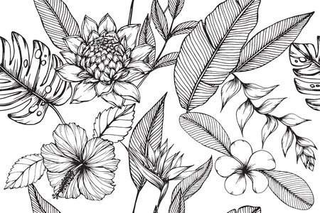 Hawaiian pattern seamless background with flower and leaf  drawing illustration.
