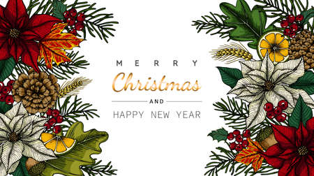 Merry Christmas and New Year backgrounds and greeting card with flower and leaf drawing illustration.