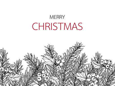 Christmas and New Year backgrounds and greeting card. with flower and leaf hand drawn illustration.