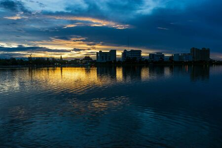 colour: sunset sky with lake view Stock Photo